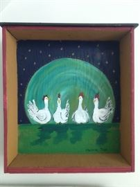 """Original oil on canvas, """"Blue Moon Hen Party"""" by Christine Tyler."""