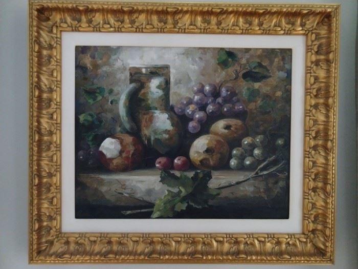 Nicely framed/matted original still life oil on canvas.