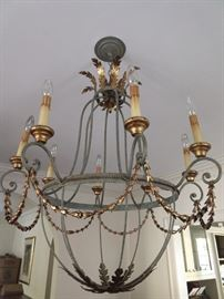 Metal lead finish/gold 8-light chandelier, from Boxwood's - this girl didn't scrimp on anything!
