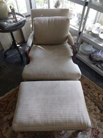 Nice upholstered armchair, with matching ottoman, by Beverly Furn, Co., Pico Rivera, CA.