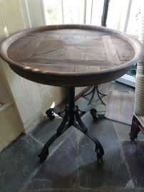Industrial inlaid wood rolling table - it has a glass top, but my camera didn't do the top of the table justice, so you're seeing it raw & nekkid.