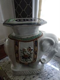 1950's Italian hand painted elephant side table - trunk sort of up, for good luck, send Viagra!