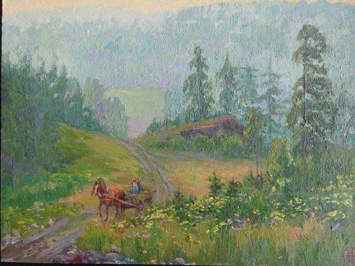 Original oil on board, by Russian artist Ralif Ahmetshin.