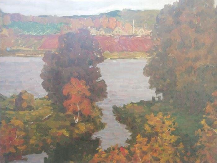 "Original oil on canvas, by Russian artist Leonid Krul, ""Night is Falling""."