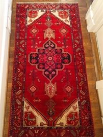 """Vintage hand woven Persian Viss rug, 100% wool face, measures 3' 4"""" x 6' 6""""."""
