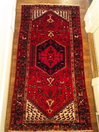 "Vintage hand woven PersianKurdish Bijar, 100% wool face, measures 3' 4"" x 6' 5""."