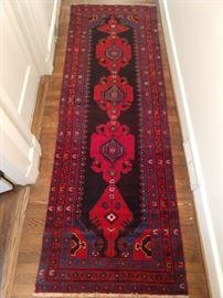 "Vintage hand woven Persian Viss runner, 100% wool face, measures 3' 2"" x 9' 6""."