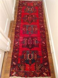 "Vintage hand woven Persian Viss runner, 100% wool face, measures 3' 3"" x 9' 3""."