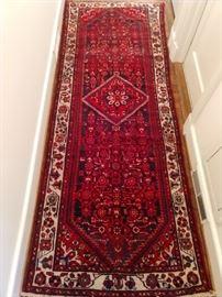 "Vintage hand woven Persian Lilihan Sarouk runner, 100% wool face, measures 4' x 10' 1""."