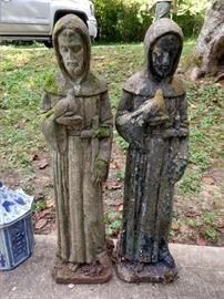 Freshly dug from the ground, a loving pair of St. Francis'. Please, no predator jokes...                                                               ;-)