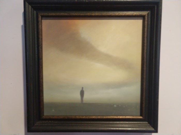 """Original oil on panel, """"Bend"""", by Lookout Mountain artist, Scott Hill; measures 12"""" x 12"""", w/o frame."""
