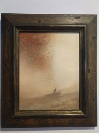 """Original oil on panel, """"Pull"""", by Lookout Mountain artist, Scott Hill; measures 14"""" x 11"""", w/o frame."""
