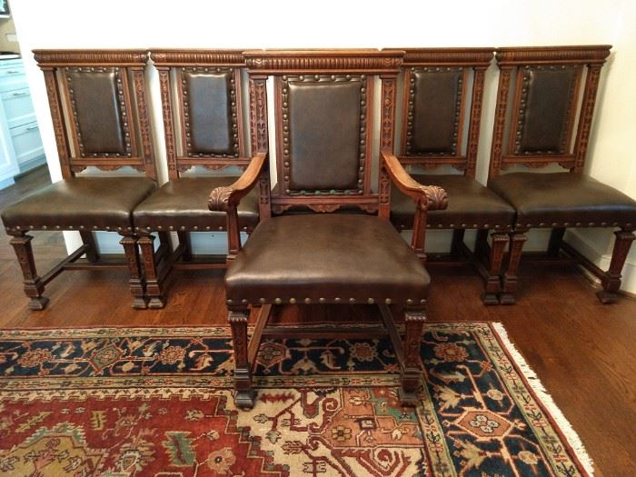 LOVELY set/6 antique English carved oak/leather chairs with extra butch brass tacks, for that castle look you've been so striving to achieve; single armchair and five sides.