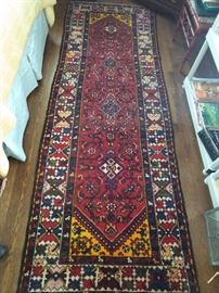 "Vintage, hand woven Persian Lilihan Sarouk runner, 100% wool face, measures 3' 5"" x 9' 7""."