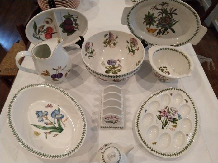 """Very nice collection of Portmeiron (England) """"Botanic garden"""" serving pieces."""