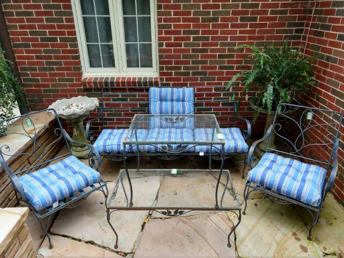 Vintage wrought iron outdoor patio set, from Rich's, purchased in the 70's.