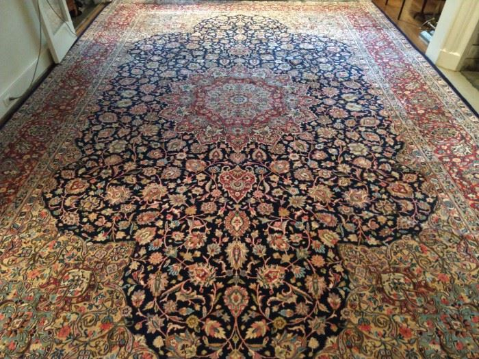 """Palace size hand woven, artisan weaver signed  Persian Kashan rug, 100% wool face, measures 13' x 19' 2""""."""