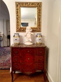 Louis XV commode with pair of Asian porcelain urs, hand carved white marble bust of girl, with antique gold gilt mirror.