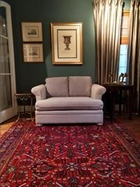 """Here's its twin. I haven't looked underneath to see if it's a boy or a girl.                                                                                          Nice hand woven Persian Bakhtiari rug, 100% wool face, measures 7' 8"""" x 9' 9""""."""