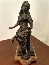 Vintage bronze female figure, on marble base, by Emile Guillemin.