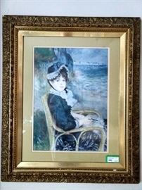 """Antique gold gilt frame, with wavy glass with Renoir Art Print """"Victorian Lady in Blue Bonnet Hat Knitting by Guernsey Seashore""""."""