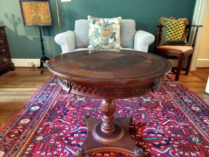 """LOVE this small, round mahogany table with all its inlay and thoughtful details, atop a hand woven Persian Mahal rug, measuring 6' 10"""" x 10'."""