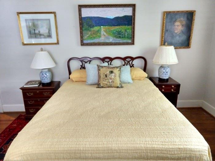 Queen size bed, with mahogany headboard, new-ish Original Mattress Factory pillow top mattress.
