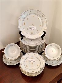 """Lovely LARGE collection of Herend """"Coronation"""", or """"Battheny"""" dinner plates, dessert plates, soup bowls and underliners."""