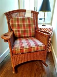Lovely rocker with twin cup holders, just in time for the football season! This little jewel was purchased from the Elm Street Furn. Co, in 1997 for $720.00.                       Some people just LOVE to spend money!  ;-)