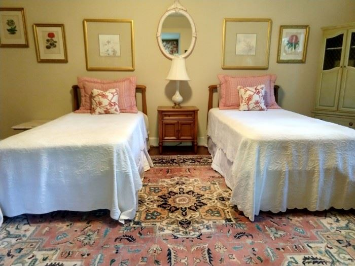 Twin beds by White Furniture Co., with matching nightstand.