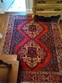"Vintage, hand woven Persian Viss Heriz rug, 100% wool face, measures 5' 3"" x 6' 2""."