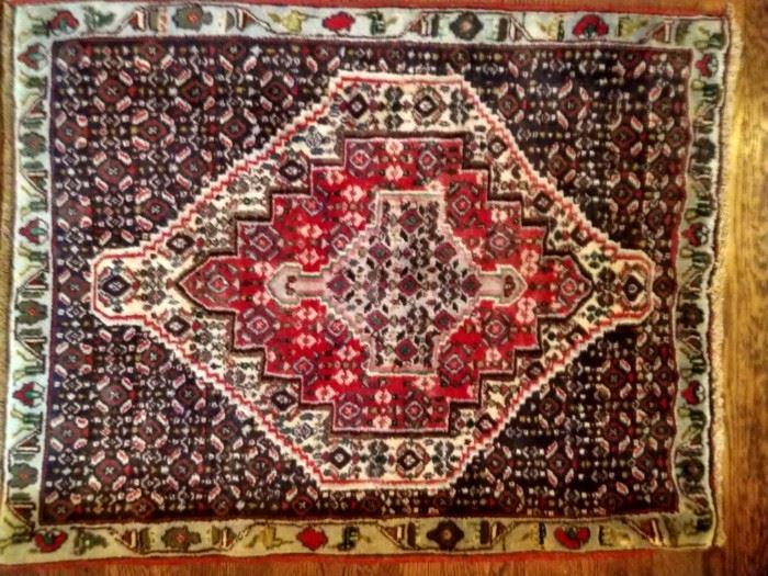 "Vintage hand woven Persian Afshari Bijar rug, 100% wool face, measures 2' 6"" x 3' 3""."