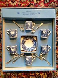 NIB Wedgwood (England) *Woodland* porcelain tea set for six.