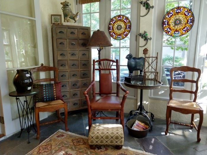 A pair of snazzy round, stained glass panels, a handmade American Hickory chair, with leather back and seating area, froggy embroidered footstool, pair of wall-crawling geckos - EEKK!!!