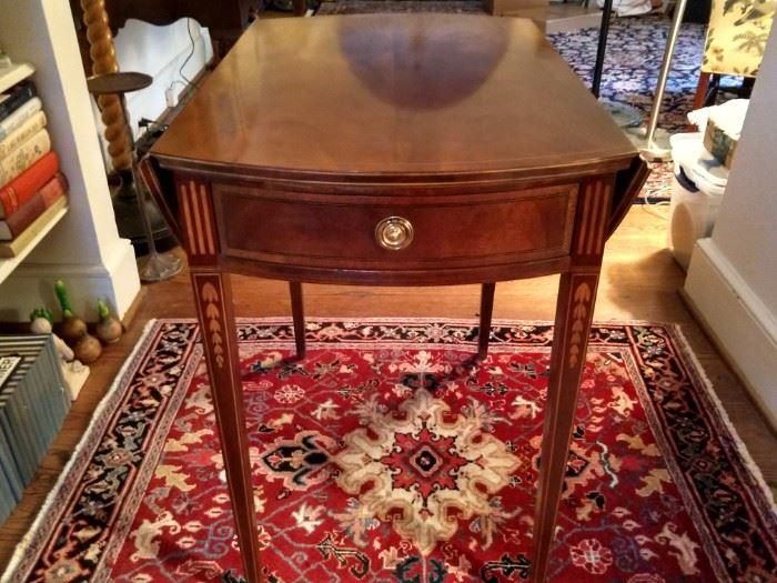 Vintage Baker Pembroke table, w/satinwood inlay and cascading bellflowers.