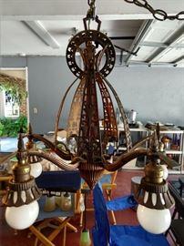 Very cool 5-light art deco chandelier.