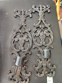 Pair of vintage cast iron wall sconces.