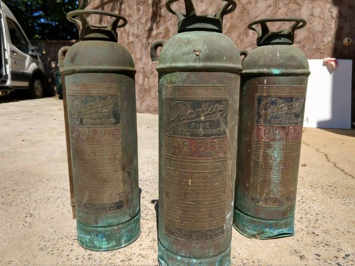 Good things DO come in three's!                                                   A happy trio of vintage Guardene (Pyrene, NY) fire extinguishers.