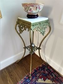 Nicely executed antique brass and marble plant stand.