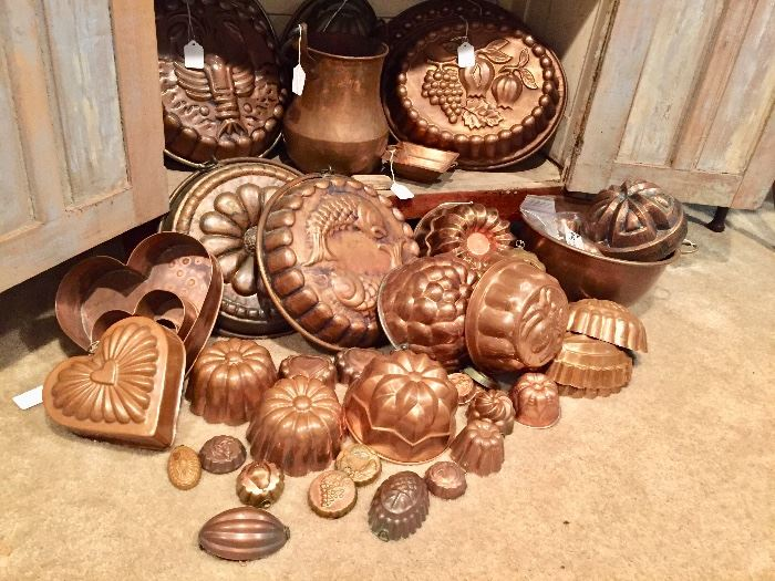 Antique copper molds all sizes and shapes
