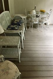 White wicker porch furniture, table and 4 chairs
