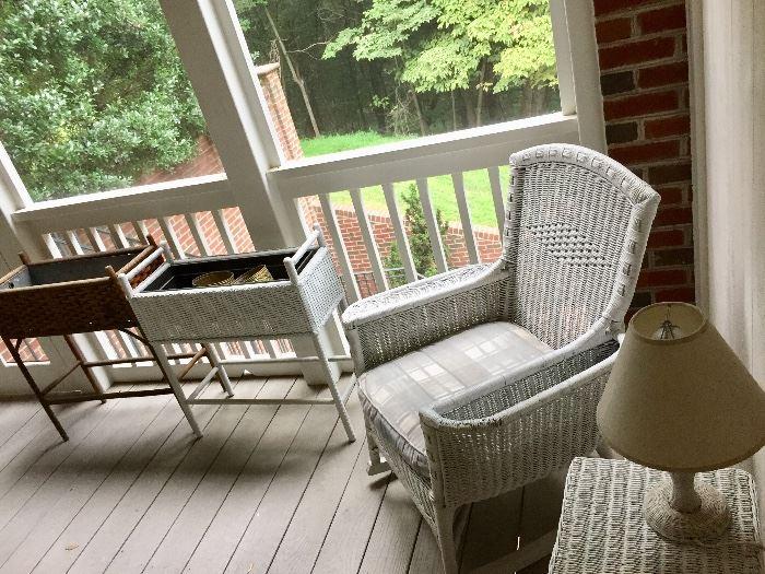 White wicker porch furniture