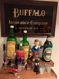 Empty bottles, shot glass collection