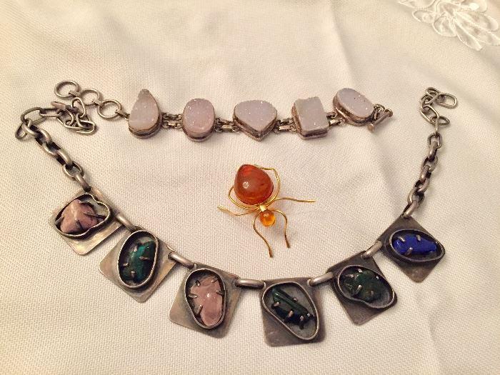 Druzzy bracelet, stone chunky necklace, amber spider