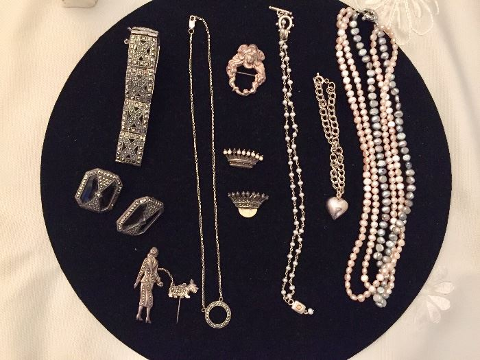 Marcasite and pearl jewelry