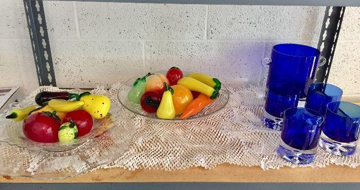 Murano fruit , Krosno  (Poland) cobalt blue glasses, ice bucket