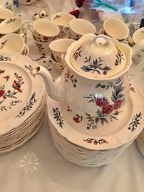 Wedgewood Dish set, cups, saucers, coffee pot and more