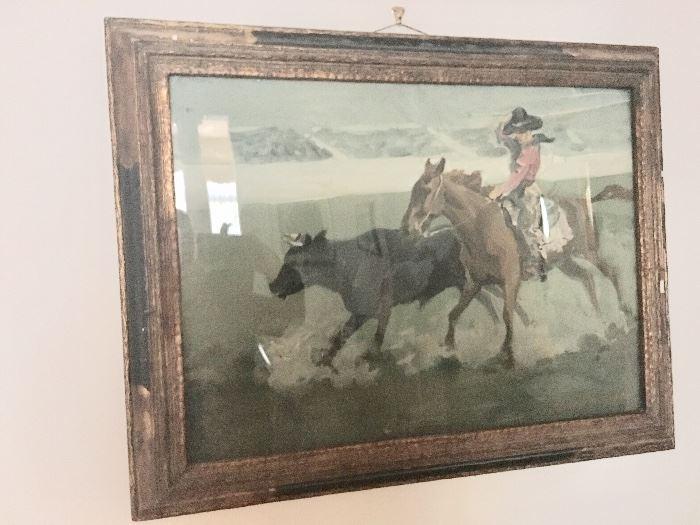 """Charles Simpson """"Cowboy Chasing Steer"""""""