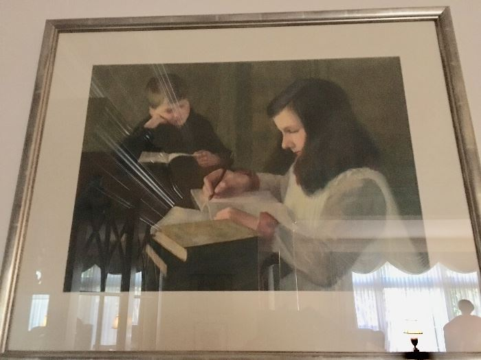 """Mina Fonda Ochtman """"Girl and Boy Reading"""""""