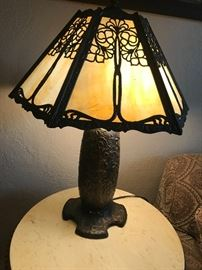 Six-Panel lamp with filigree over caramel slag panels